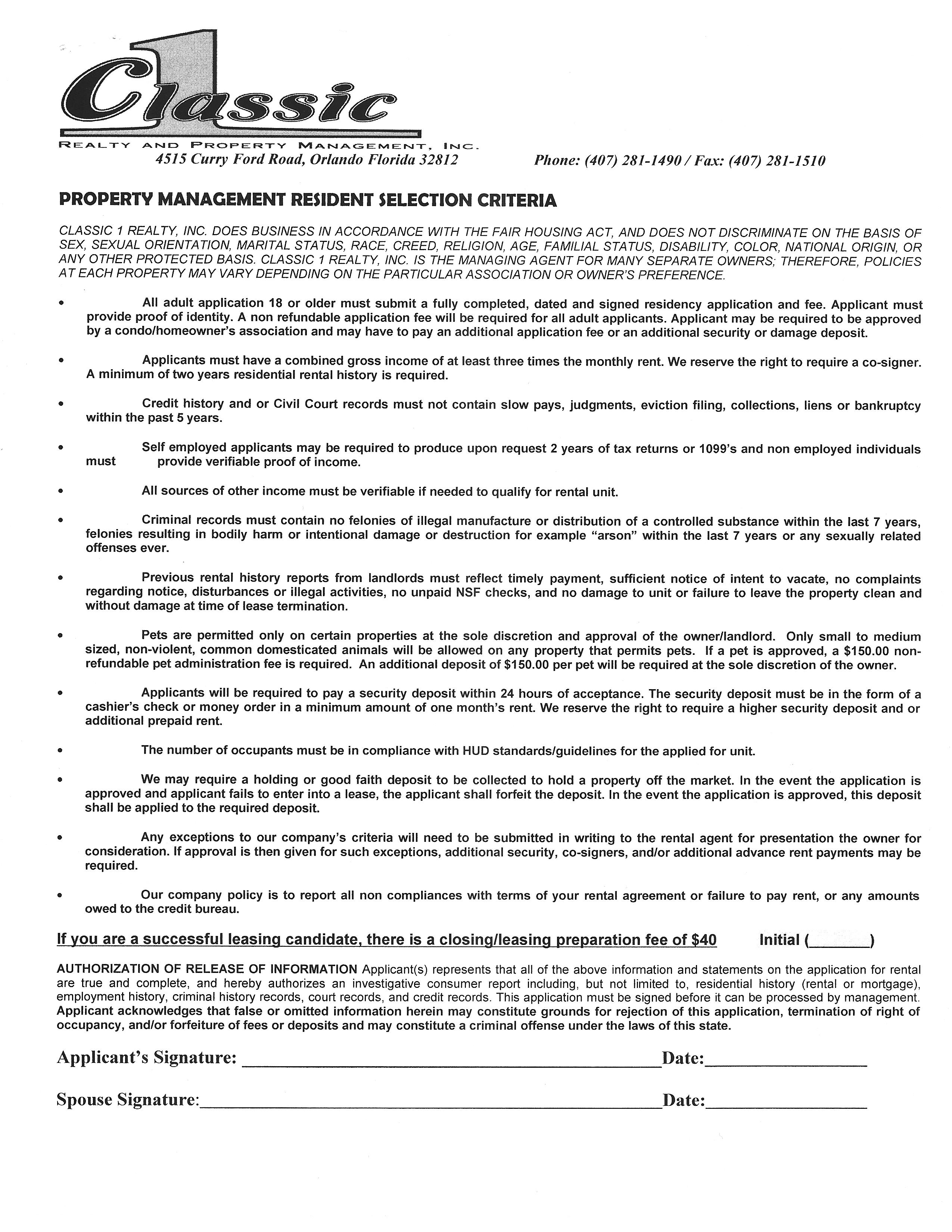 emergency contact on rental application